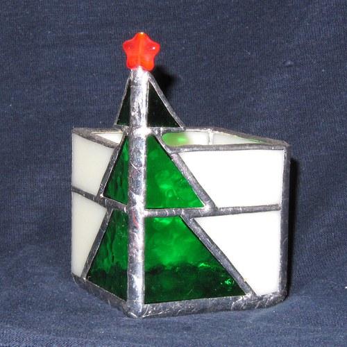Vánoční svícen na čaj. svíčku stromeček