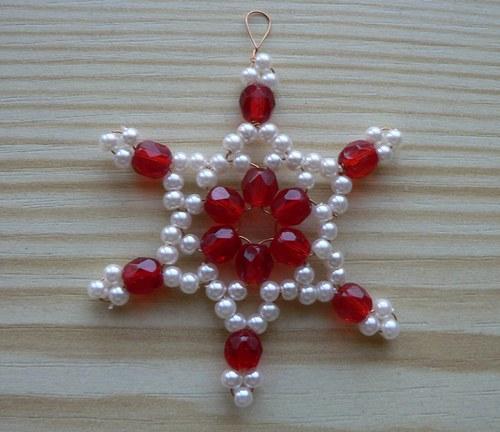 Vánoční hvězda s perličkami II