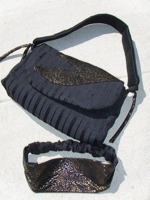 Manžestrová kabelka s čelenkou - SLEVA !!!!!
