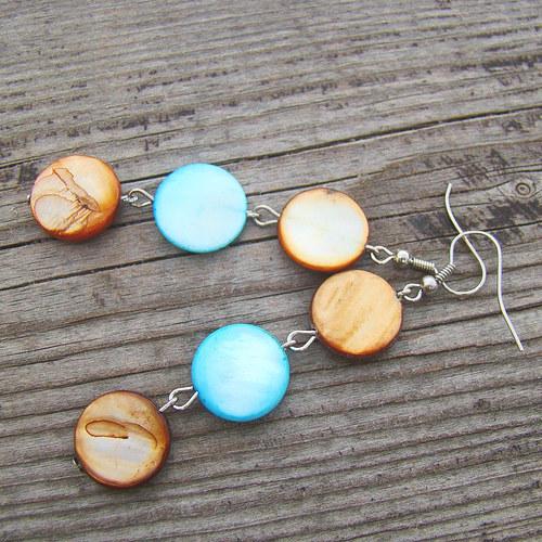 náušnice perleť v barvách čokotyrkysu