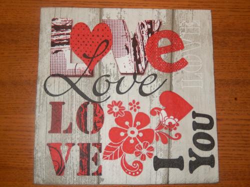 Ubrousek na decoupage - láska je láska