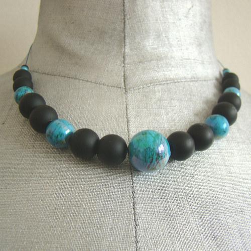 náhrdelník -  černotyrkysový