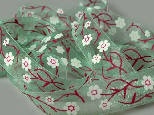 Stuha šifónová š.22mm květy