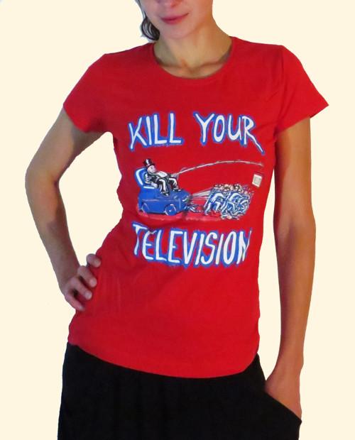 Tričko dámské červené KILL YOUR TELEVISION