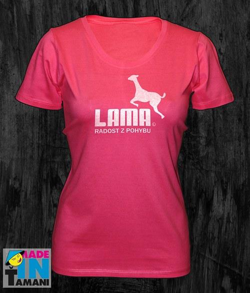 Dámské růžové tričko s Lamou