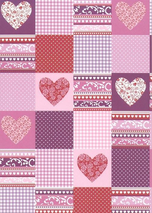 Fotokarton A4 patchwork se srdíčky