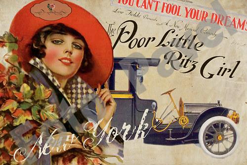 Vintage motiv - dáma s autem a kyticí