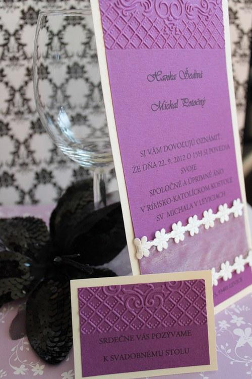 Svadobné oznámenie - krémovo fialové