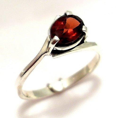 Prsten «Angie» - stříbro 925, přírodní granát