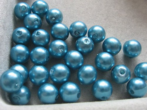 Voskové korálky - tm. tyrkysová 8 mm / 25 ks