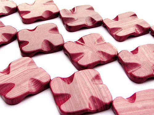 Prolam. čtverec z red wooden line stone ((PM175))