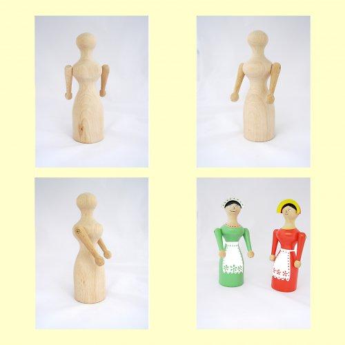 Dřevěná panenka k domalování