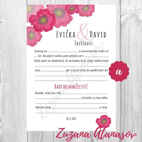 Doplňovačka č. 11a - květ máku - svatební zábava