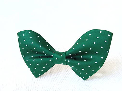 Dark green bow tie with mini white polka dots