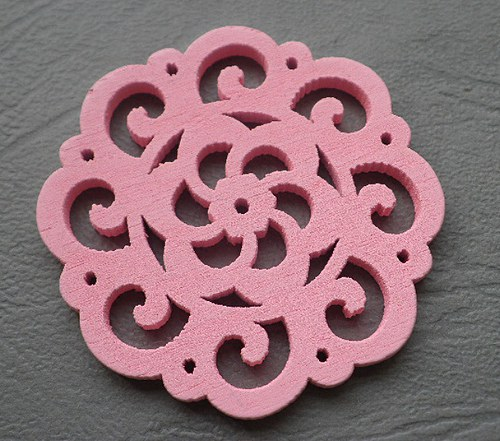 Dřevěná rozetka růžová, 4,2mm - 1ks