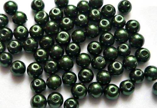 Voskové perly průměr 6mm 20 ks barva tmavě zelená