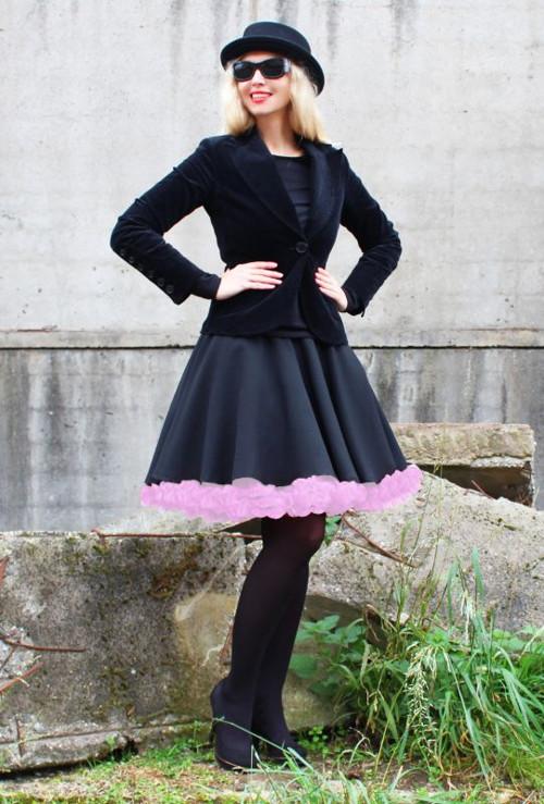 FuFu sukně černá s růžovou spodničkou