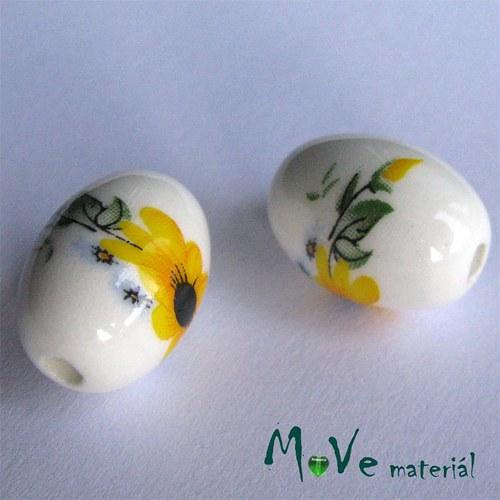 Korálek porcelánový oliva 13x18mm, 1ks
