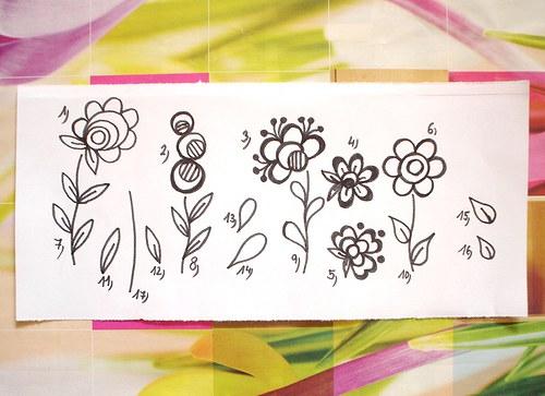 Velká sada 6 květin 17 ks razítek... Omyvatelná.