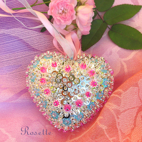 Růžičky a pomněnky -  srdce