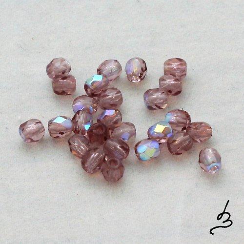 Broušené AB fialové 4 mm, 50 ks