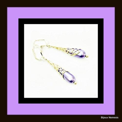 Violette drops in the lace náušnice