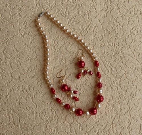 perlový set - náhrdelník jednořadý + náušnice