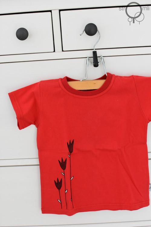 Malované tričko červené s tulipány, 2-3 roky SLEVA