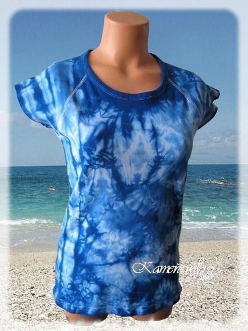 dámké batikované tričko-modré