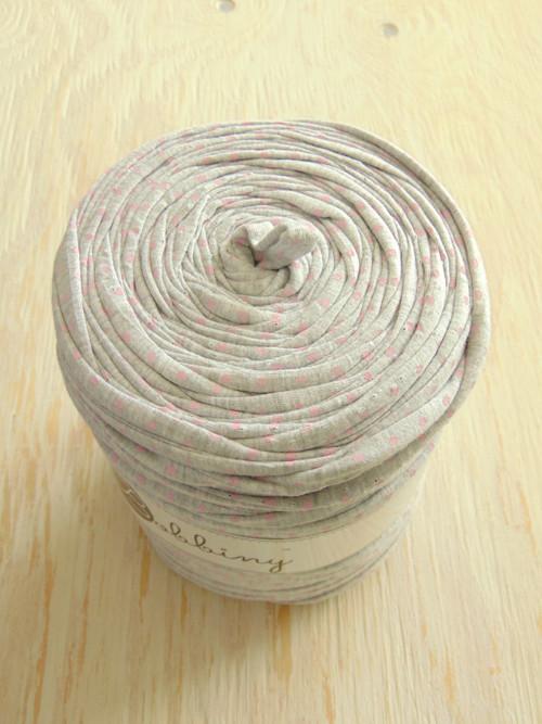 Špagáty šedá s růžovými puntíky