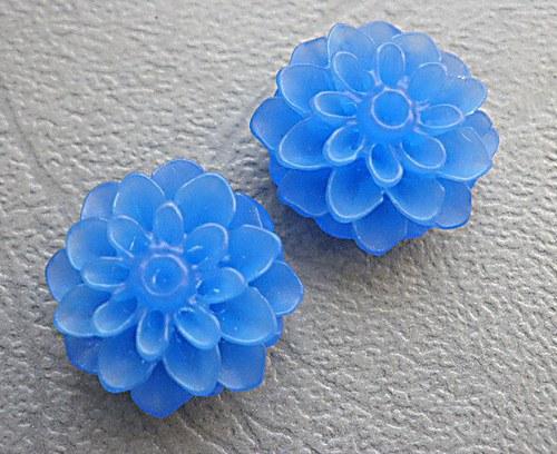 Kabošon chryzantéma,  modrý  - 2ks