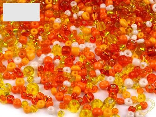 Oranžový mix - skleněné korálky - balení 50 g