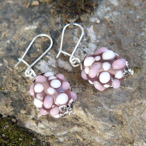 Náušnice - růžové mozaikové olivy