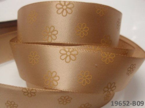 19652-B09 Stuha 22mm s květy KRÉMOVÁ, svazek 2m
