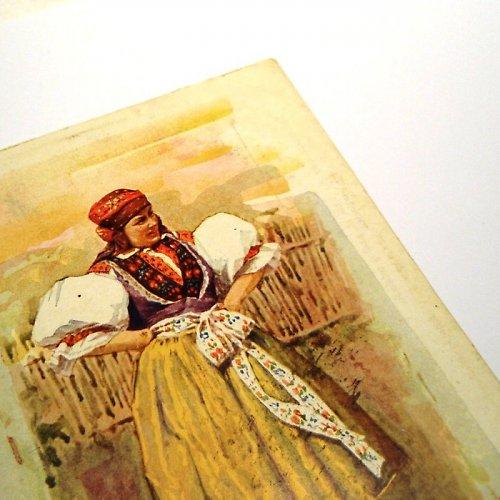 POLKA, polský kroj - pohlednice č. 1038