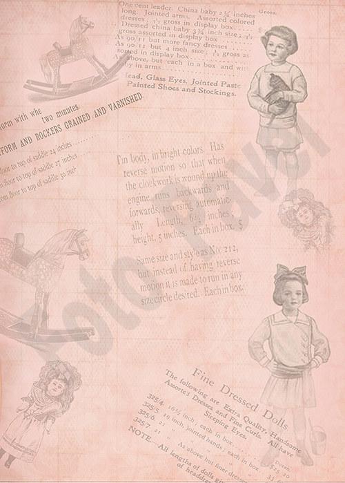 Vintage papír A5 - děti a hračky