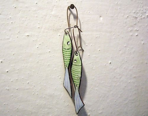 Smaltované náušnice rybičky