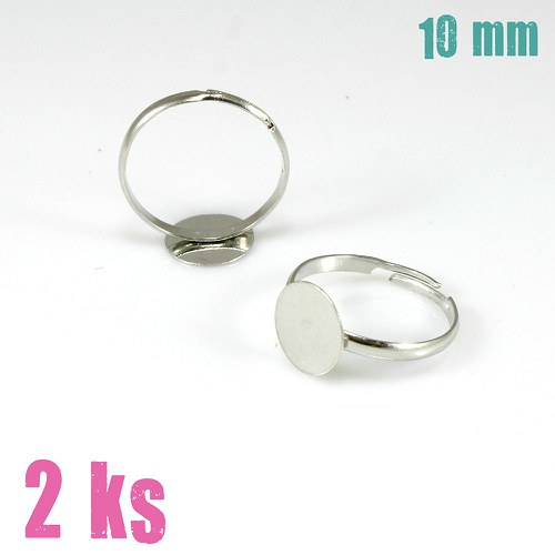 Základ na prsten stříbrný slabý, lůžko 10mm, 2 ks