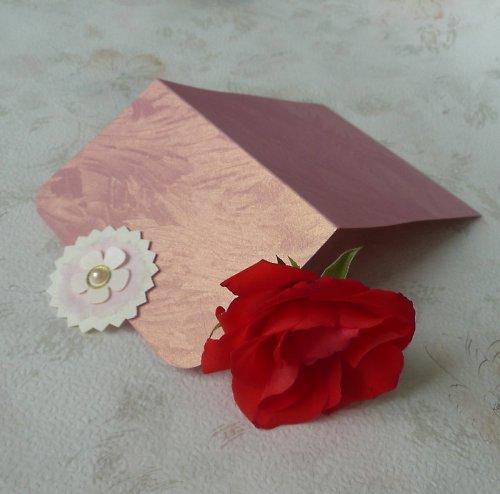 Dárková obálka růžová s kytičkou 2.