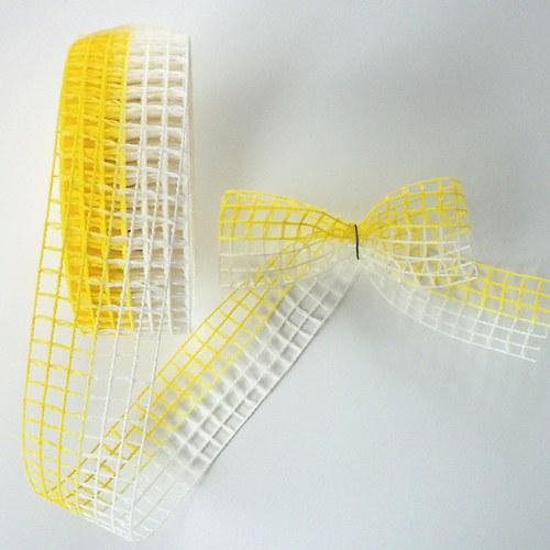 Stuha síťka žluto - bílá 2m