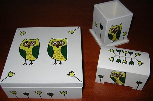Sovičková sada- tužkovník+ pokladnička+krabička