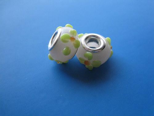 Korálky - sklo 2ks - sv.růžové s květy