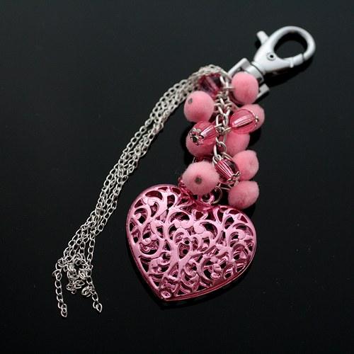 Růžové srdce s řetízky - VÝPRODEJ