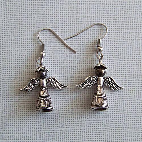 Náušnice andělíček kovový/ ant.stříbro/ 2ks