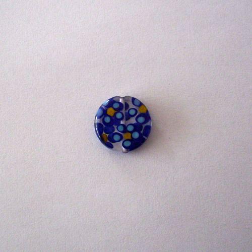 Vinutá perle - krystal s modrými kytičkami - 23 mm