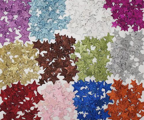 Hvězdička glitter plochá 2 ks bílá