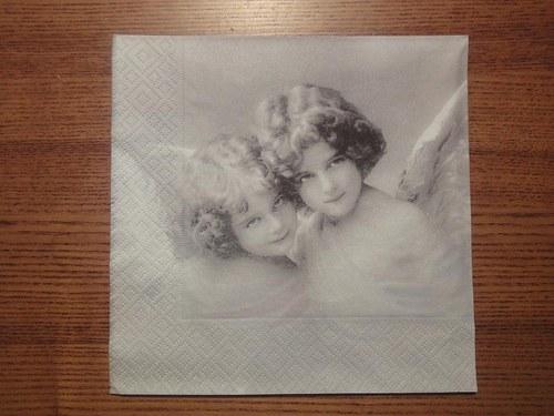 Ubrousek na decoupage - usmívající se andělé