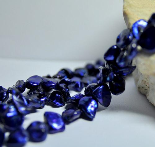 PR227 Cobalt Blue - říční perly 11x9 mm/2ks