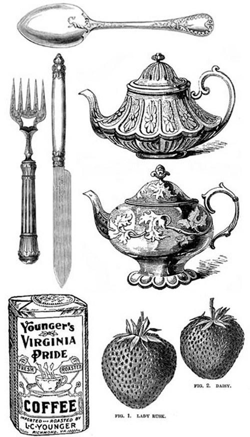 Vintage nažehlovací obrázky - Tea