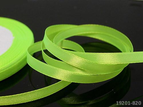 19201-B20 Stuha satén 6mm zelená neon, svazek 5m